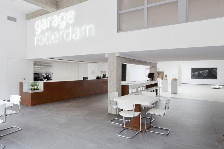 etched text in corten + neon lights.     Garage Rotterdam 16 - Remy Meijers