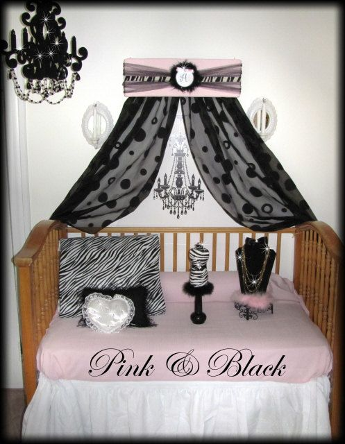 So Zoey Boutique - Crib Crown Canopy Teester Pelmet Zebra Upholstered Princess-