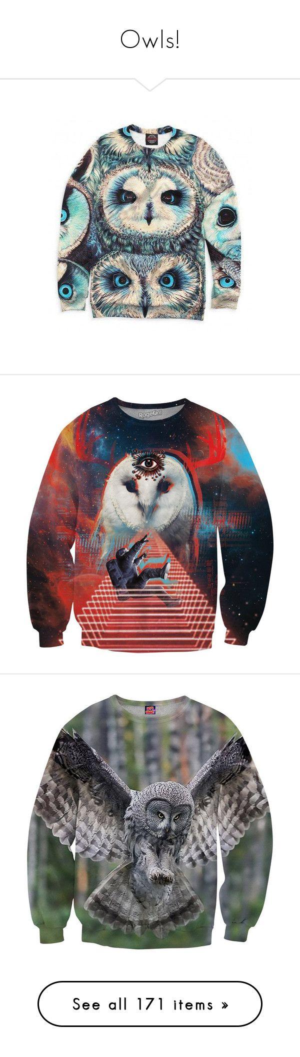 """Owls!"" by miss-image ❤ liked on Polyvore featuring men's fashion, men's clothing, men's hoodies, men's sweatshirts, mens short sleeve sweatshirt, mens galaxy sweatshirt, mens crewneck sweatshirt, mens crew neck sweatshirts, tops and sweaters"