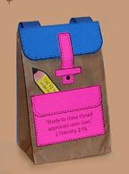Free paper bag backpack back-to-school backpack craft for kids on Danielle's Place of Crafts and Activities from www.daniellesplace.com