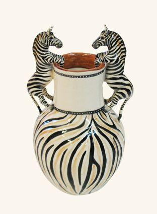 Stripey Double Zebra vase - Ken Rowse