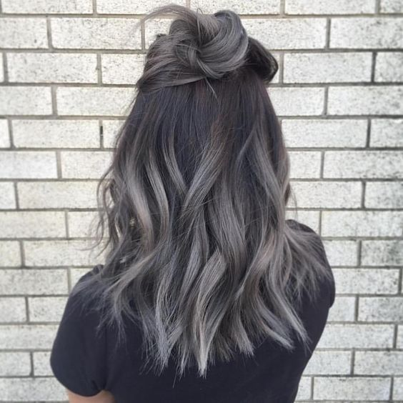Gray Color Highlights - Ombre Hair