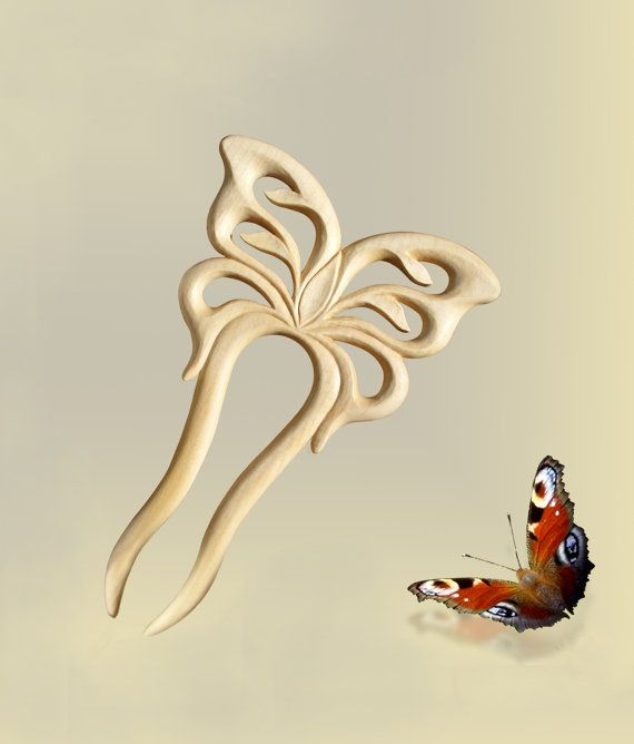 Great for long hair this maple wood butterfly stick