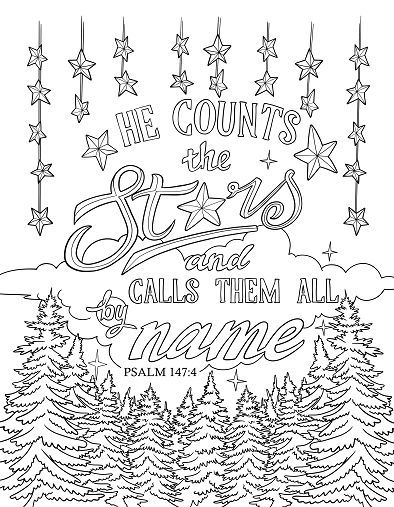 Scripture Coloring Page Psalm 147 4 Bible Verse