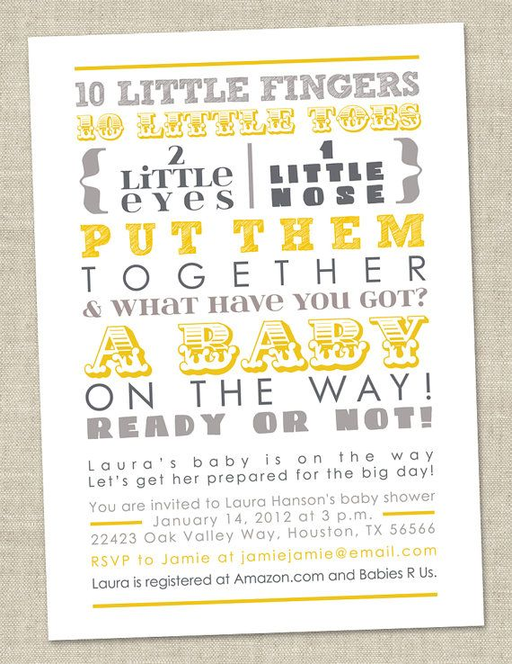 Baby Shower Invitation - words, gender neutral gray yellow (Printable Digital File OR Printed Cards)