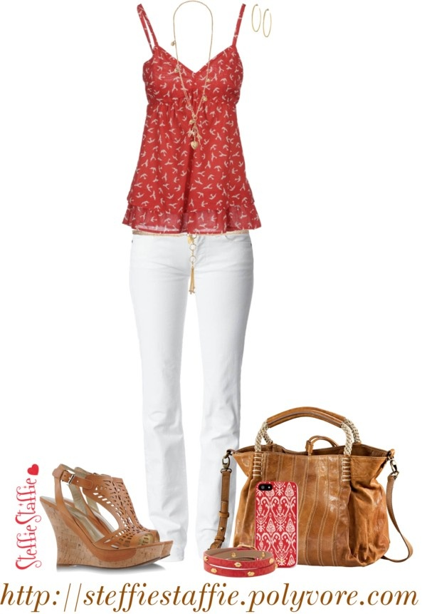 """""""Red Prints & Cut Out Wedges"""" by steffiestaffie on Polyvore"""