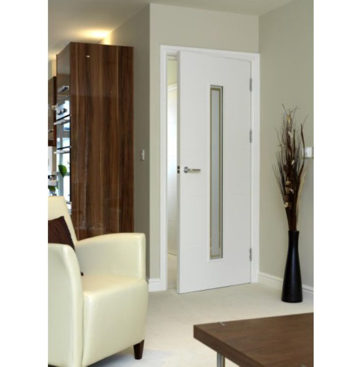 flush white internal door with horizontal grooves gorgeous etched glass central panel really adds style - Glass Interior Doors