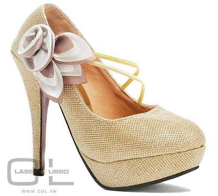 Giày cao gót KVOLL chính hãng - CG001: Gót Kvoll, Golden High, Cao Gót, Giài Xinh, Flowers Shoes, Genuine, Heels, High, Giày Cao