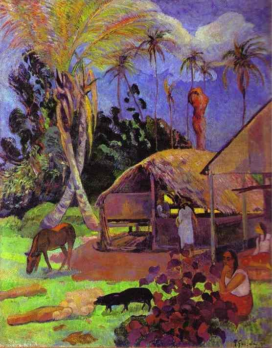 Black pigs, Oil On Canvas by Paul Gauguin (1848-1903, France)