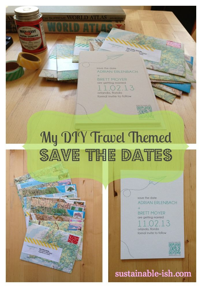 DIY Save the Dates recycled maps