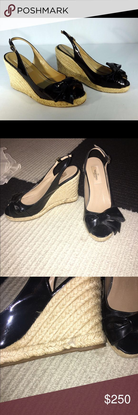 Valentino Wedges Basically brand new Valentino wedges; peep toe, patent and with a bow Valentino Shoes Wedges