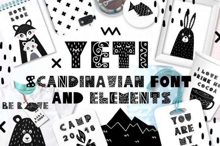 FREE Yeti - Scandinavian Font & Elements By TheHungryJPEG
