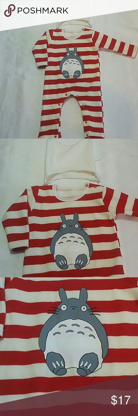 NWOT Red Stripes Bear Bodysuit Adorable red and white stripes body suit with a cute design on the front.  Includes a beanie.  With snaps.  This item is brand new and never used One Pieces Bodysuits