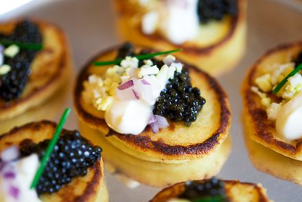potato blinis with creme fraiche and caviar
