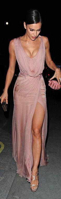 Irina Shayk in Versace pretty color- perhaps a bit more coverage would make it prettier