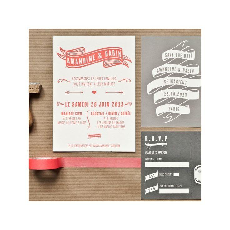 invitation letterpress gabin - Mister M Studio