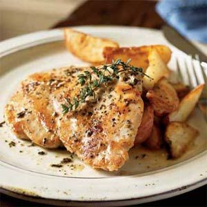 Chicken with Provencal Sauce - Really simple and delicious!  Accompanied by potato wedges tossed in butter, salt, pepper and garlic baked at 450 degrees until crispy (about 30 minutes) and fresh green beans.  Make sure to spoon the sauce over the chicken and potatoes.  Great meal for family and guests.  Enjoy it with a nice glass of wine and you will feel you are in France...