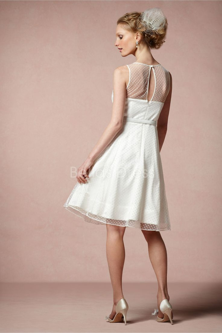 knee-length-a-line-tulle-with-sash-ribbon-sweet-wedding-dress