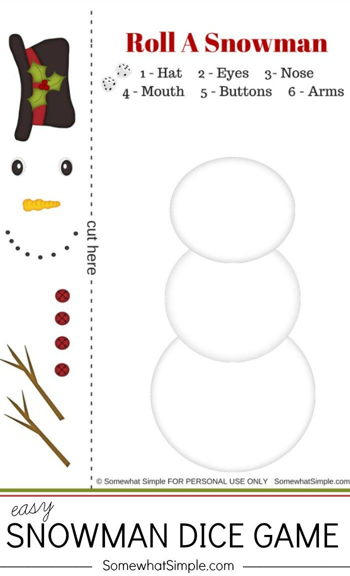 Family Fun for Everyone During Christmas - Easy Snowman Dice Game by Somewhat Simple