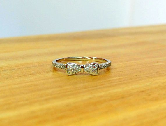 Bow ring CZ bow ring bow silver ring CZ by MoonliSilverDesigns