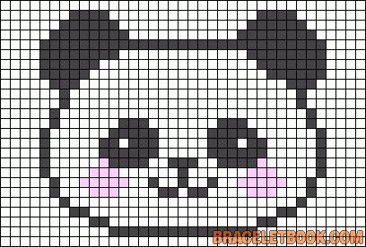 Kawaii Panda Hama Perler Bead Pattern or Cross Stitch Chart