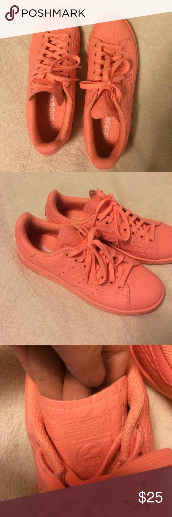 Adidas Stan Smiths Worn less than 5 times. Bright coral/ pink. Snake skin texture. Fits more like an 8 or 8.5. Adidas Shoes Sneakers