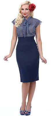 Unique Vintage Navy High Waist 1950s Pencil Skirt $68.00  More at  http://www.vintagedancer.com/1950s/1950s-skirts/