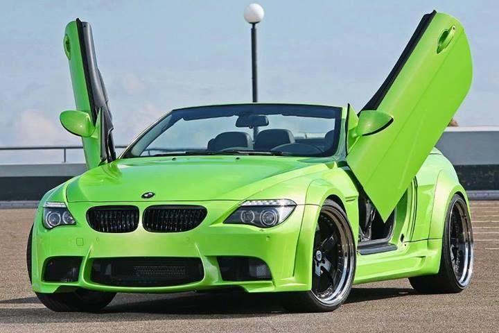 Lime Green Bmw With Lambo Doors Carflash Lamborghini Bmw Super Sport Cars Bmw 6 Series