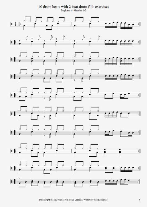 10 beginners drum beats with 2 beat drum fills exercises - PDF Download