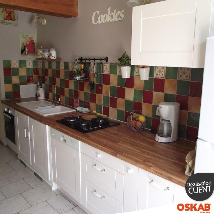 Deco cuisine campagne couleur ivoire et bois au style - Deco plan de travail cuisine ...