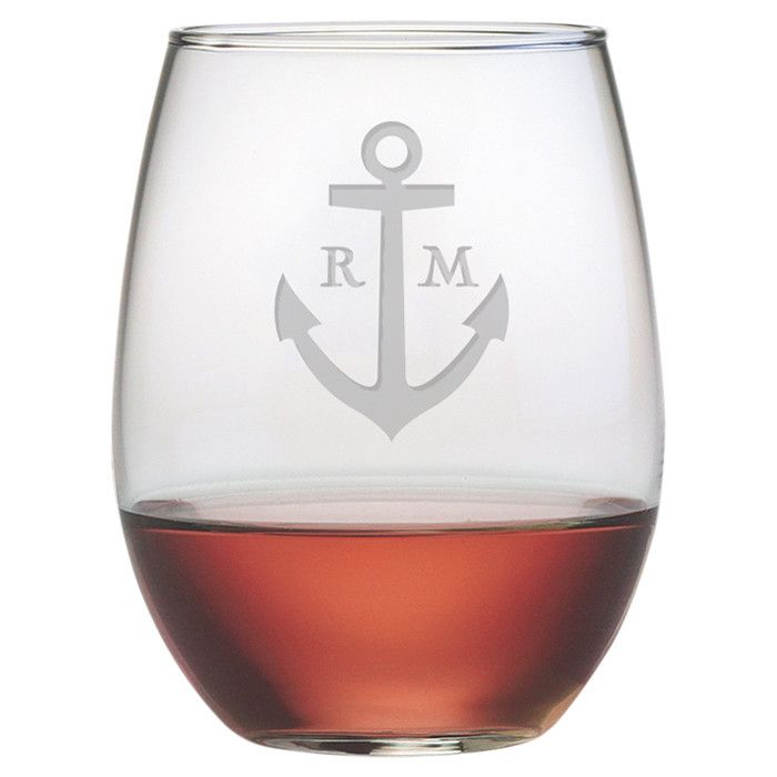 So fun! Nautical Anchor Glasses