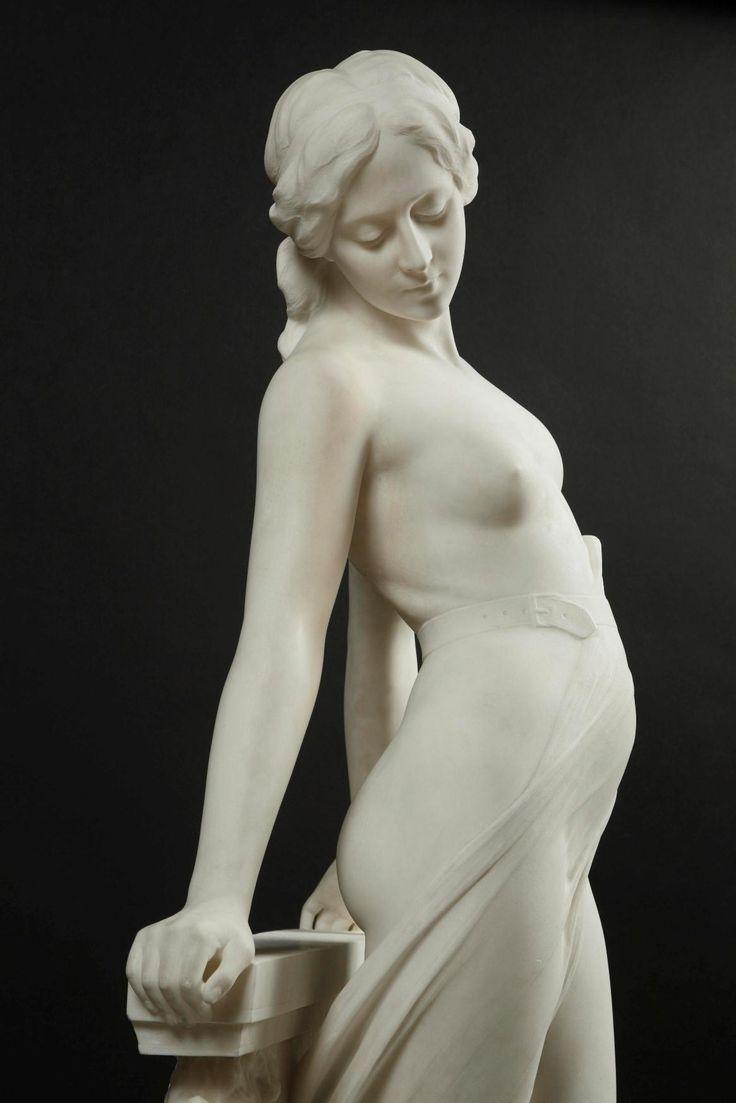 ❤ - EMILIO FIASCHI (1858-1941) - VEILED FEMALE NUDE. Carrara marble, signed…