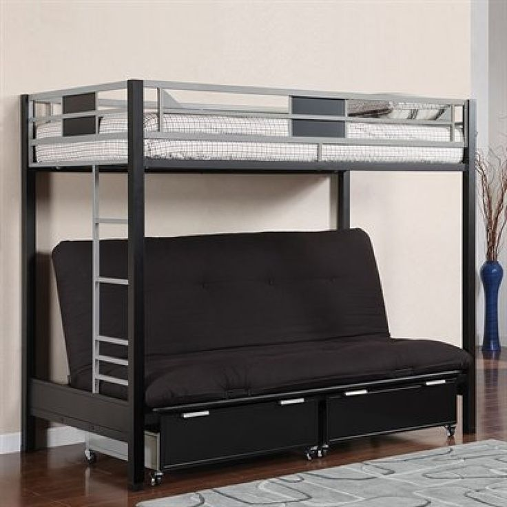 twin size loft bed with futon sofa bed and staircase - Hausgemachte Etagenbetten Mit Rutsche