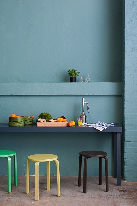 'Sea Urchin' Dulux colour, with a table painted in 'Raven Plume'. restful and easy on the eye. The different colour stools provide just the right amount of contrast and warmth.