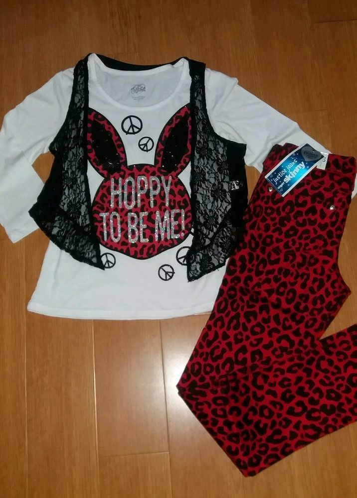 5a4f16100e4 Girls Justice Size 12 Red Black Animal Print Set Outfit NWT Skinny ...