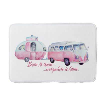 Retro Camper Caravan and Kombi Bath Mat - home gifts ideas decor special unique custom individual customized individualized