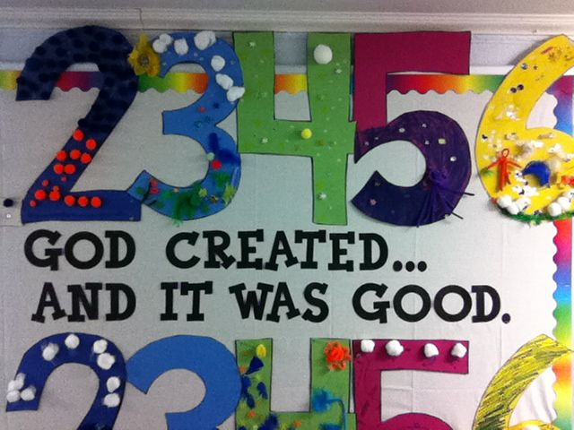 Children's Ministry (kidmin): Creation Bulletin Board...the kids turned each number into a work of art, depicting that particular day of creation!! creative classroom ideas