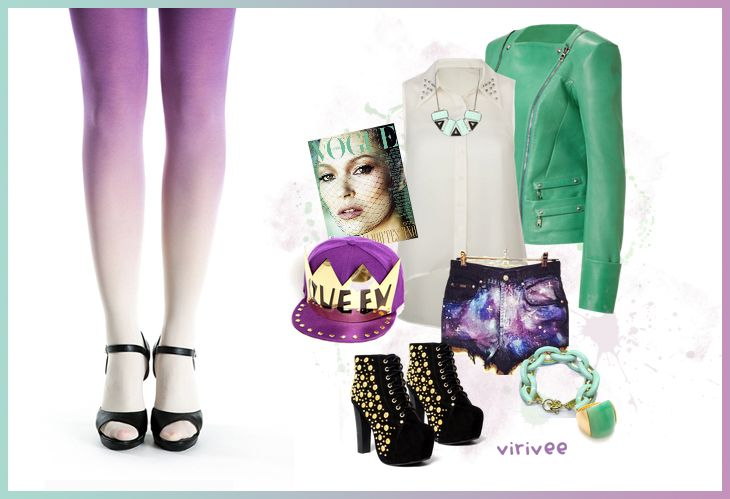 Virivee ivory-purple ombre tights. #inspiration #tights #purple #green