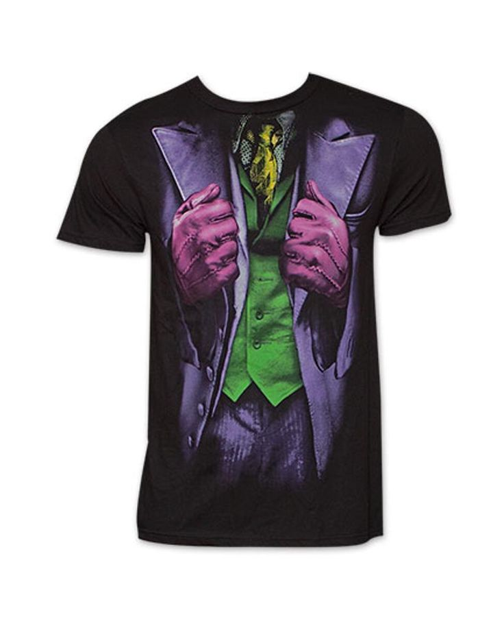 If you're trying to look less serious, try on this Batman Joker Jacket Costume Halloween T-Shirt. The black tee features a look reminiscent of the Joker's jacket for an eclectic yet stylish look that is as great for casual wear as it is for something fun like Halloween. 100% cotton.