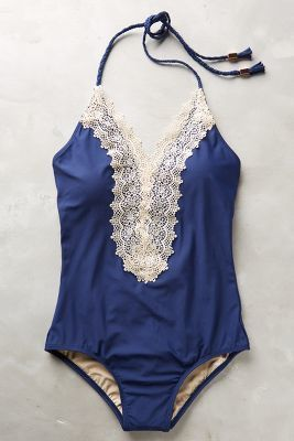Anthropologie Lace-Front Maillot #anthropologie #navy #swimsuit #lace #fashion