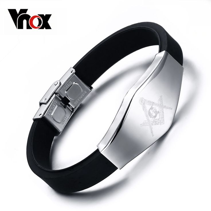 Masonic Silicone Bracelet Bangle Stainless Steel Adjustable Length Clasp Like if you remember #Jewelry #shop #beauty #Woman's fashion #Products