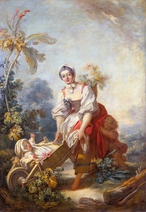 """The Joys of Motherhood by Fragonard c.1754 """"Idealized visions of the pleasures of local country life were popularized in the 1740s by Charles-Simon Favart at the Comic Opera in Paris and in paintings and stage sets by François Boucher, with whom Fragonard apprenticed prior to his 1752 Rome Prize win. Paintings this size(57 x 38 1/2 in.) functioned as interior decorations for wealthy patrons."""""""