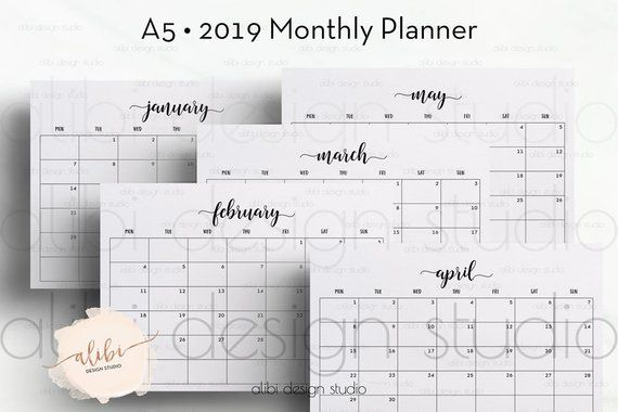 A5 2019 Monthly Planner A5 Planner Month At A Glance 2019