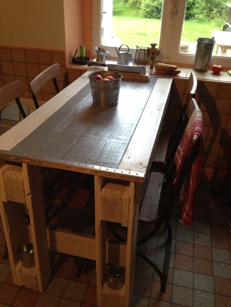 Pallet kitchen table pallet tables pallets and kitchen for Pallet kitchen bench
