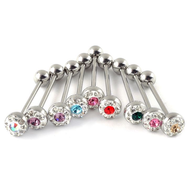 1Pc  Crystal Tongue Ring Stainless Steel 17 Gauge Barbell Body Piercing Jewelry For Girl Women Ear Navel Tongue Body Jewelry