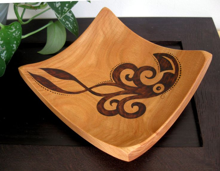 Wooden Bowl Abstract Squid Pyrography Design Woodburned by KDGArt. $55.00, via Etsy.
