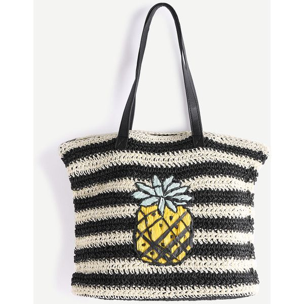 Black And White Striped Pineapple Straw Tote Bag ($22) ❤ liked on Polyvore featuring bags, handbags, tote bags, black and white striped tote, black and white striped tote bag, black and white purse, black and white tote bag and stripe tote