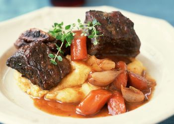 Succulent and tender beef short ribs can simmer for hours in the slow cooker. Serve this recipe for beef short ribs on a mound of smashed potatoes or buttered noodles.