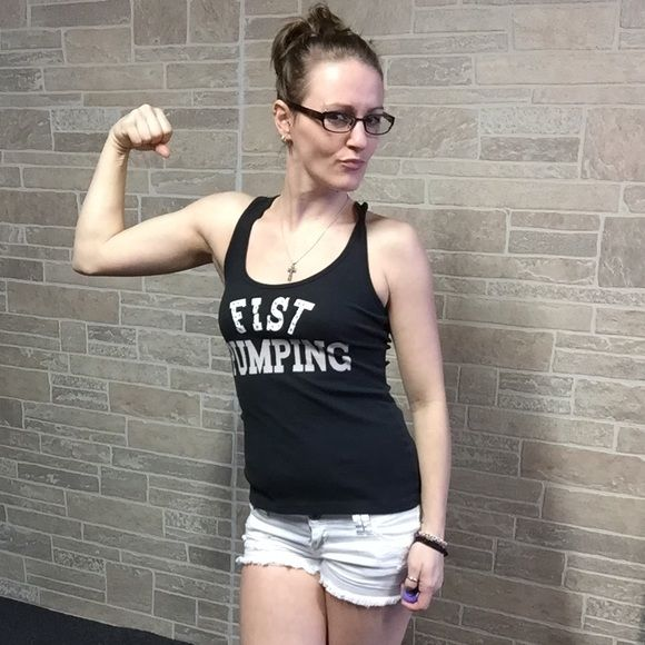 "Fist Pumping"" Tank top •$4 if bundled• ""Fist Pump"" It's a Jersey thing Tank top, rhinestones still there, lettering is cracked a little bit. {#2} Pic Wet Seal Tops Tank Tops"