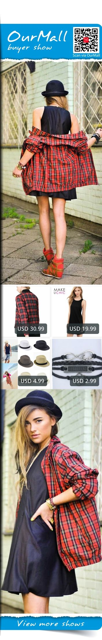 This is Juliett Kuczynska's buyer show in OurMall;  1.Winter Bomber Jacket Women Aviator Jacket Red plaid Baseball Jackets Chaquetas Mujer 2.Loose Sleeveless Women Black Vestido Casual Daliy Sweet Mini Dress White Clothing Sexy 3.for Women Fedora Trilby G